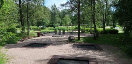 Riipuntateline, kolme maatrampoliinia ja eri kokoisia kiviä parkouralueella.